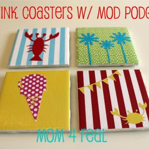 DIY Drink Coasters w/ Mod Podge - Mom 4 Real