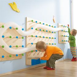 Tube wall / ball drop - this one using pegs, so kids can adjust (indoor/outdoor idea)