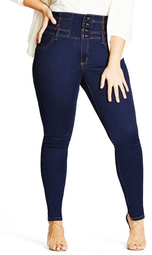 Plus Size Corset Waist Stretch Skinny Jeans | Plus Size Fashion