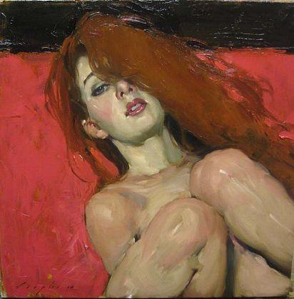 Artist: Malcolm T. Liepke (b. 1953), oil on canvas {contemporary figurative #impressionist art redhead female reclining woman portrait painting}