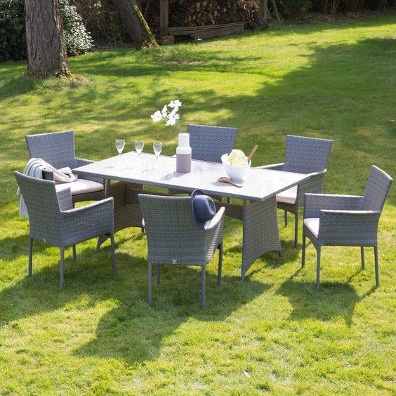 soldes salon de jardin delamaison achat salon de jardin 6 places lorenta greenpath en rsine - Salon De Jardin Mtal Color
