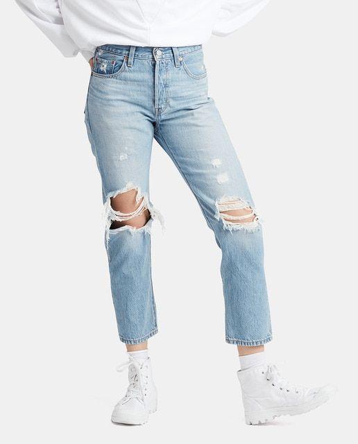 Levi S Vaquero De Mujer 501 Crop Con Rotos Traje De Pantalones Vaqueros Rasgados Pantalones Remendados Moda