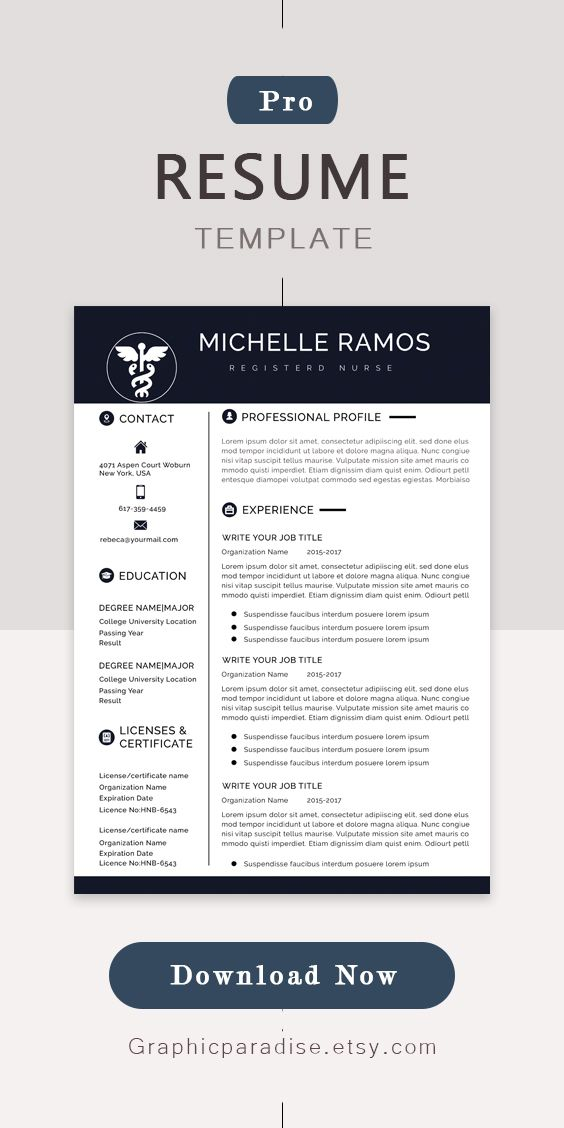 Nurse Resume Cv Template Medical Cover Letter Mac Pc Easy To Edit And Instant Download Resume Design Template Resume Template Word Resume Template Professional