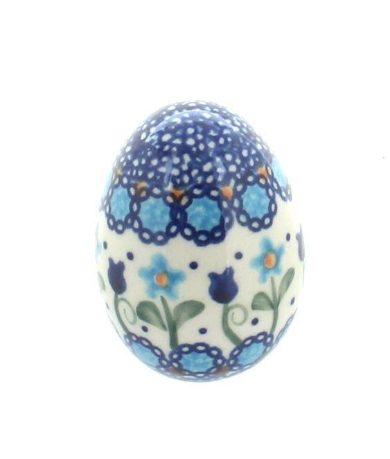 Savannah Small Decorated Egg - Blue Rose Polish Pottery