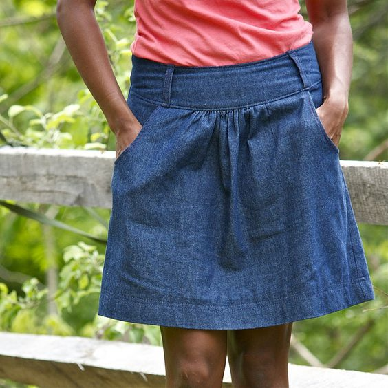 Must remember how useful a plain denim skirt with pockets is ...
