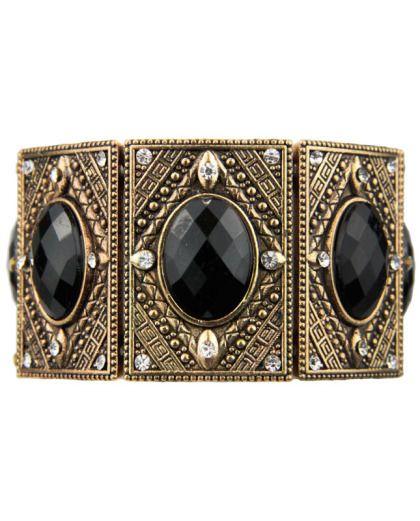 Pulseira elástica dourada envelhecida com pedras pretas Gracia