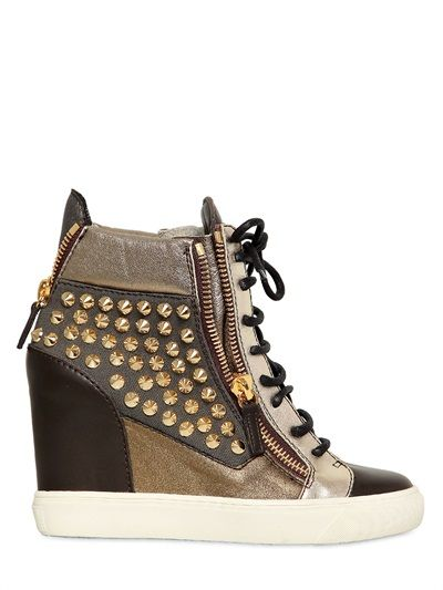 GIUSEPPE ZANOTTI  90MM CANVAS & LEATHER STUDDED SNEAKERS - http://lustfab.com/shop-lust/giuseppe-zanotti-90mm-canvas-leather-studded-sneakers/