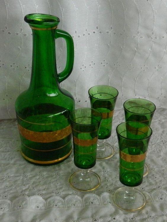 VIntage Himark Italy Grape Leaf Green Glass Gold Trim Decanter & Footed Cordial Set #himark #decanter