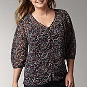 liz claiborn Ditsy Floral Top - JCPenney