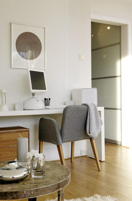 White and grey work space