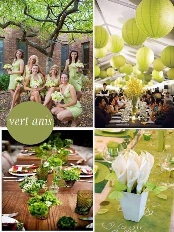 Décoration mariage vert anis blanc - http://mariageenvogue.com/2015/08/15/une-decoration-de-table-vert-anis-et-blanc-rose-argentee/  #wedding #decoration #green