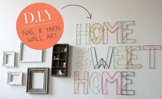 diy nail and yarn art on jen loves kev #diy #yarn #craft #wallart #type