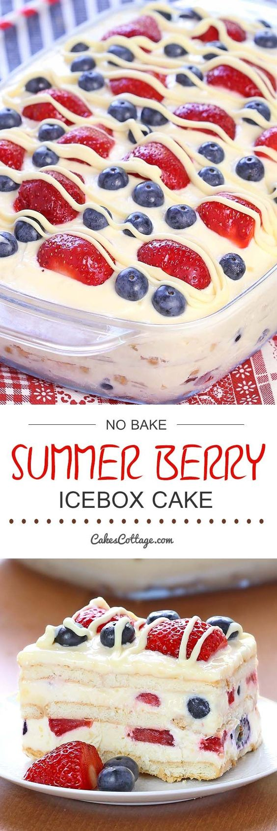 Looking for a quick and easy Summer dessert recipe? Try out delicious No Bake Summer Berry Icebox Cake !: