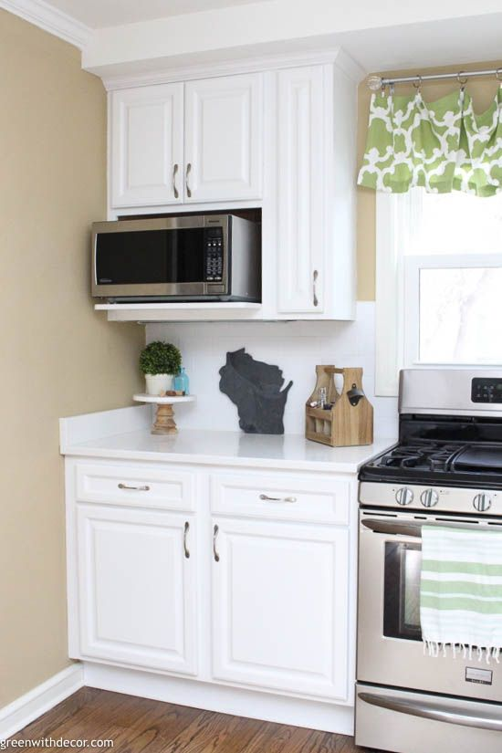 The Best Microwave Height Green With Decor Kitchen Remodel