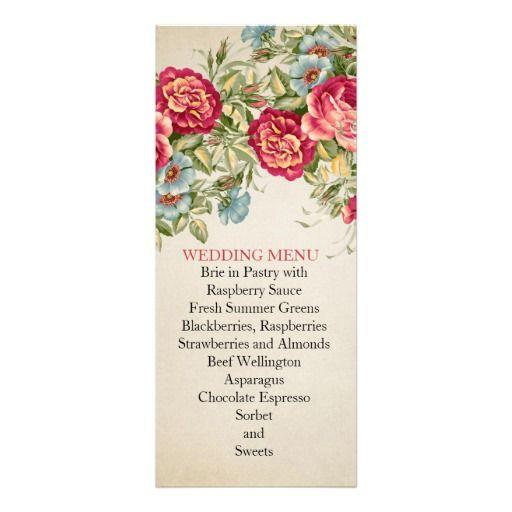 Vintage Bloom Roses Wedding Menu Personalized Invite
