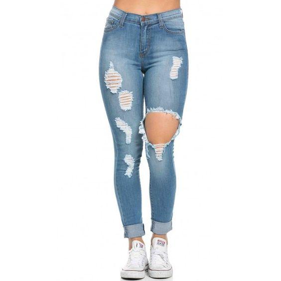 high waisted distressed skinny jeans in blue 155 brl. Black Bedroom Furniture Sets. Home Design Ideas
