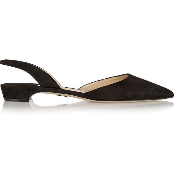Paul Andrew Rhea suede point-toe flats (1,945 AED) ❤ liked on Polyvore featuring shoes, flats, black, pointy toe flats, black slingback shoes, black flats, black low heel shoes and pointed toe slingback flats
