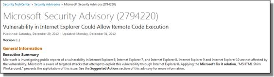 Fix it: Internet Explorer 8 Vulnerability