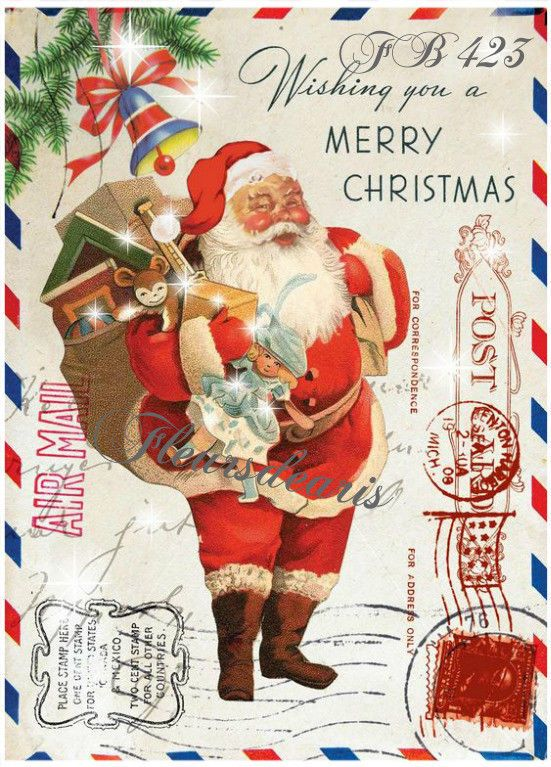 Vintage Christmas Santa Post Card Fabric Block Quilt Make Pillow Stocking FB 423 #Handmade