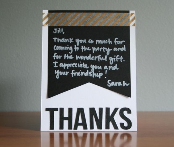 Use the banner pieces from our exclusive chalkboard banner kit to make fast, easy thank you cards after the party is over! http://www.archiversonline.com/emails/244
