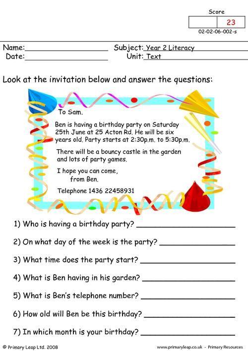Primaryleap Co Uk Ben S Birthday Worksheet Comprehension