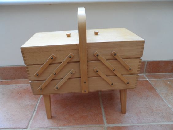 Large Free Standing Vintage Cantilever Wooden Sewing Box With 3 Levels very good condition by VintageFoggy on Etsy
