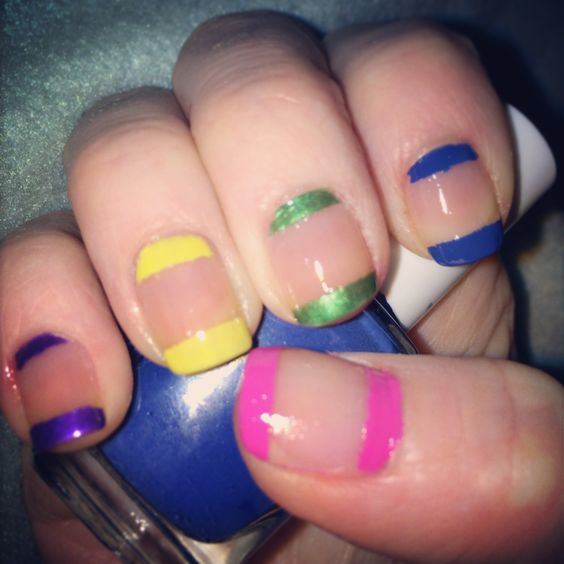 Multi coloured nail art