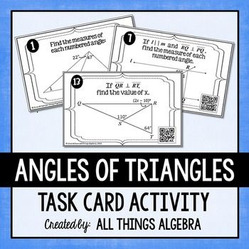 Angles of triangles task cards triangle sum theorem - Sum of the exterior angles of a triangle ...