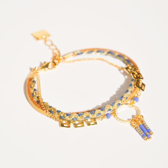 Bracelet cordon doré mat et tresse bleu, anneau fin et chaîne rectangulaire doré Créateur -Bijoux ENORA-