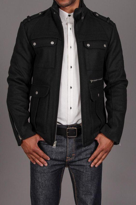 Black Rivet Military Pocket Jacket Black | Casual Man | Pinterest