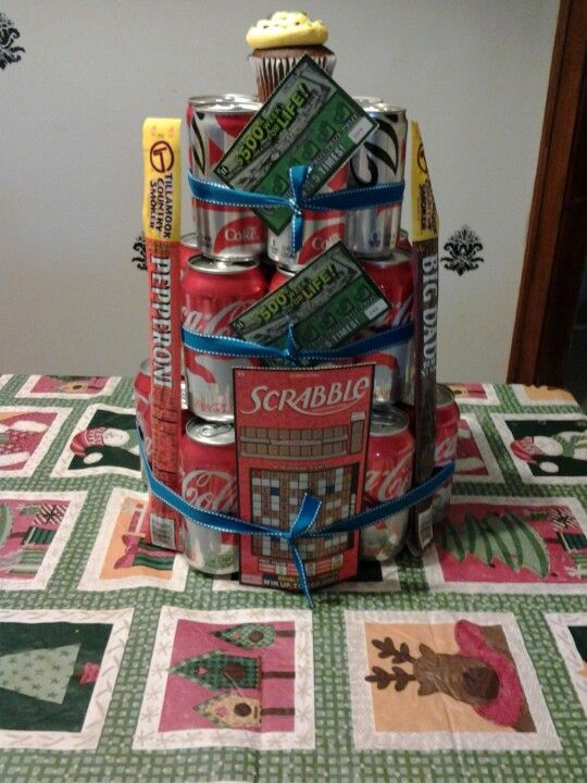 Instead of a diaper cake I made a soda cake since my hubby doesn't like sweets