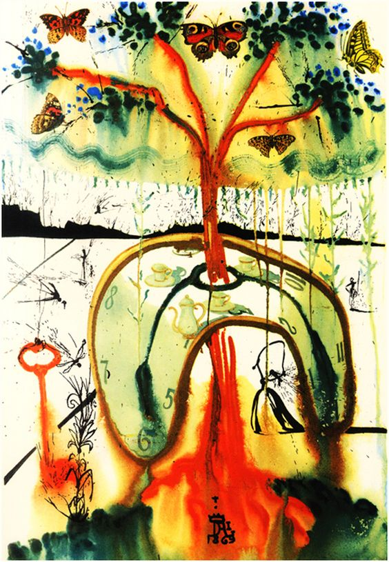 Mad Tea Party: In 1969, a print run of Alice In Wonderland was released featuring the surreal illustrations of Salvador Dali. The book contained twelve heliogravures, one for each chapter.