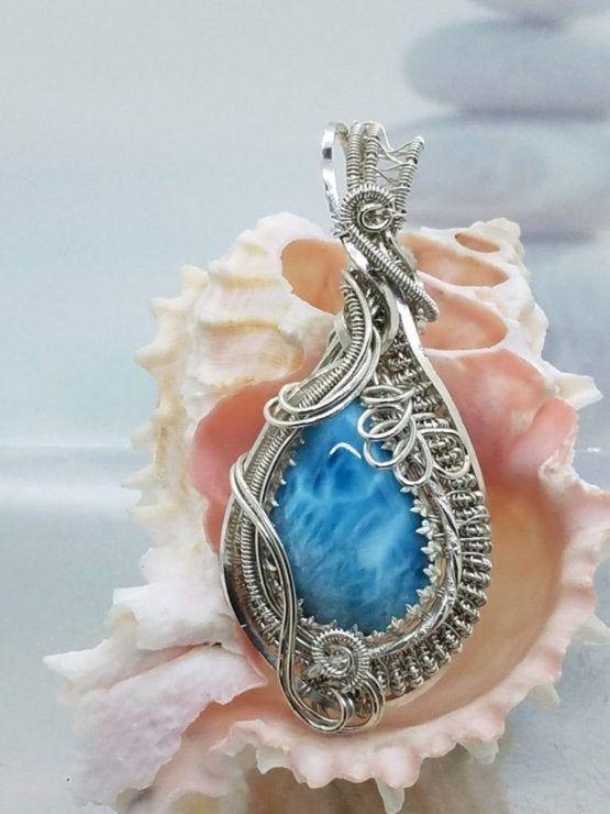 Heady Wrap Larimar /'Deep Blue/' Silver Wire Pendant; Larimar Jewelry; Wearable Art