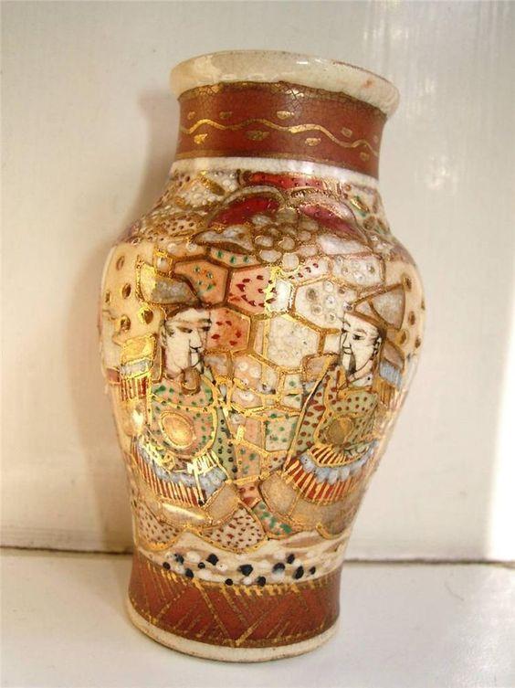 satsuma pottery | Japanese Satsuma pottery vase Samurai C1880s | eBay