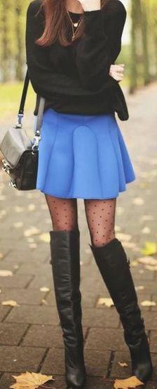 polka dot tights, black & cornflower blue.