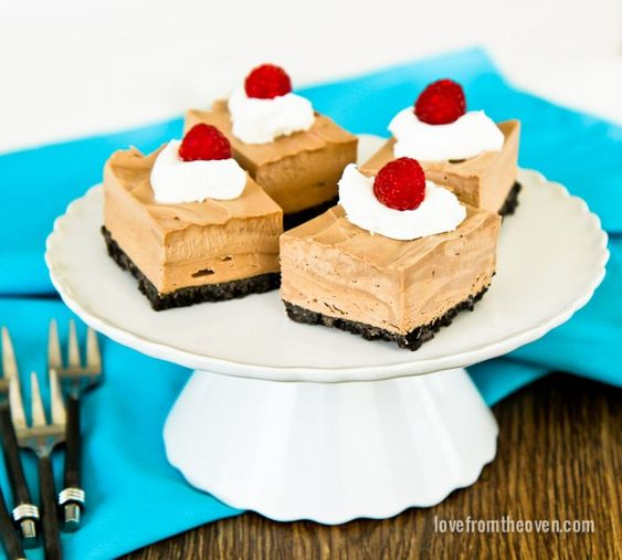 Frozen Chocolate Mousse Squares | Mousse, No Bake Recipes and Family ...