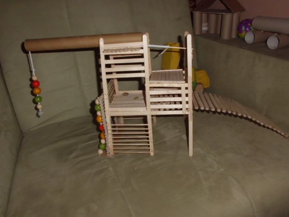 Popsicle stick playground for my rats rat diy things i for How to make things out of sticks