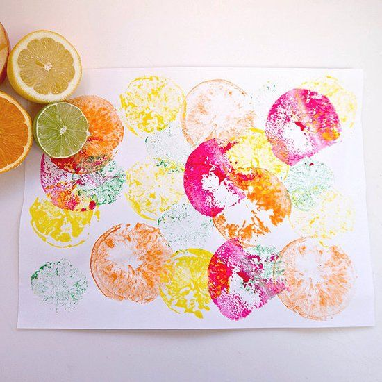 Pin for Later: 119 Creative Indoor Activities For When It's Too Hot to Handle Make a Fruit Print Fresh fruit doesn't have to be just for eating. Gather the kids, along with their favorite fruits, and enjoy an easy afternoon art activity.