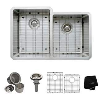 """View the Kraus KHU105-32 31-1/4"""" Undermount 60/40 Double Bowl 16 Gauge Stainless Steel Kitchen Sink at Faucet.com."""