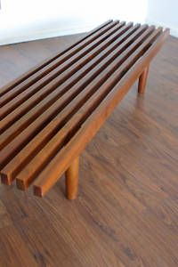 Mid century teak slat bench.    This is what I want for the deck at the cabin - make bigger into a table.