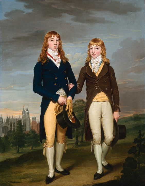 Portrait of Two Eton School Boys in Admontem Dress, Eton Chapel Behind - By:  Francis Alleyne (1774 - 1790) - Francis Alleyne was a British portrait painter, usually on a small scale. He seems to have specialised in small, oval, three-quarter lengths, usually signed on the back, which look like middle class versions of Wheatley's more elegant small portraits.