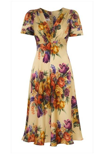 Vintage print silk tea dress based on our best selling 1930&-39-s ...