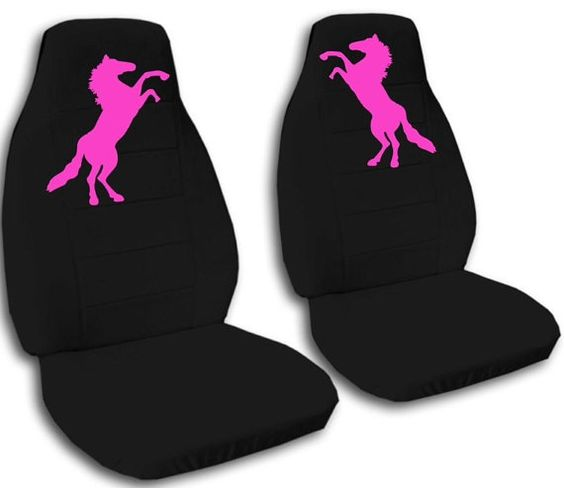 2 Auto Seat Covers. Black front seats with embroidered pink standing horse. on Etsy, $79.99
