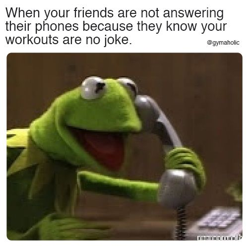 When Your Friends Are Not Answering Their Phones Because They Know Your Workouts Are No Joke More Motivation Https Relatable Meme Spongebob Memes Gym Jokes