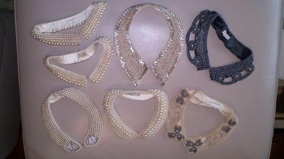 Vintage Pearl Collars, originally worn on a cardigan sweater, are now being worn as necklaces on a bare neck. At Wildpalm Vintage Jewels only at Hell's Kitchen Flea Market in New York City.