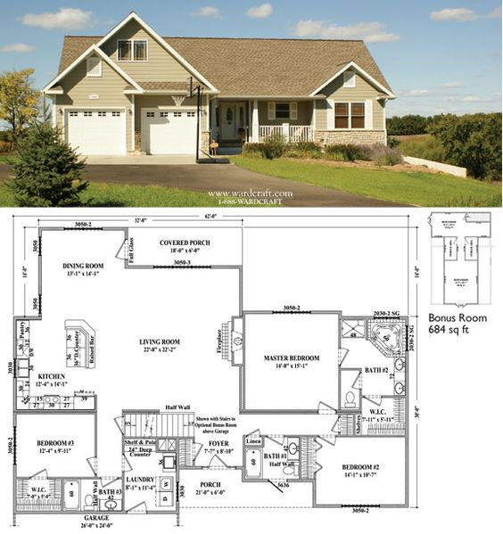 Walkout basement man cave and floor plans on pinterest Ranch house plans with basement 3 car garage
