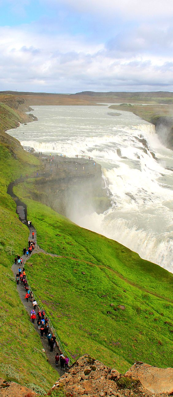 Gullfoss Waterfall - Iceland... Another Icelandic spot not to miss is Gullfoss, or the Golden Falls.: