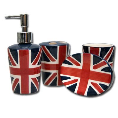 Inject a bit of British style into your bathroom  Read more about British  bathroom design   then and now    Only decades ago. union jack bathroom accessories     All Things British