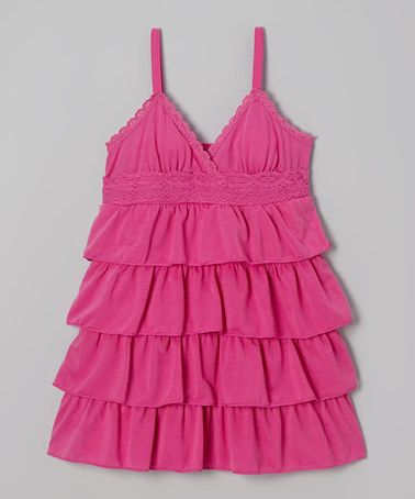 Another great find on #zulily! Bright Fuchsia Ruffle Babydoll Dress - Toddler & Girls #zulilyfinds