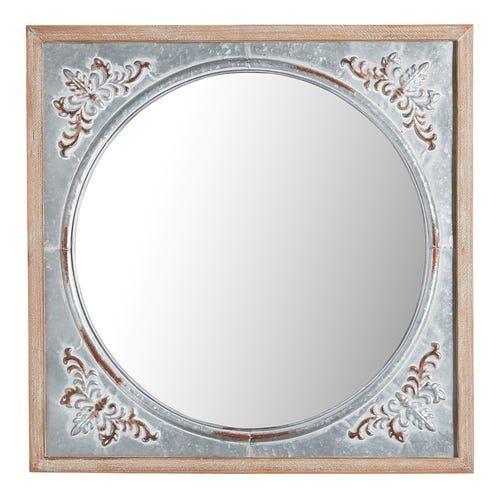 Celeste Antique Galvanized Metal Mirror Metal Mirror Circular Mirror Mirror